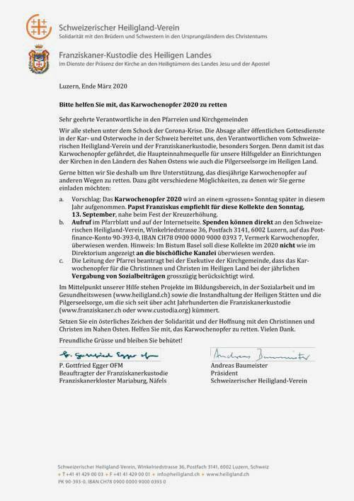 Brief an die Pfarreien und Kirchgemeinden wegen der Corona-Krise und dem drohenden Ausfall des Karwochenopfers.