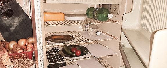 Heiligland-Verein - Jeder vierte ältere Mensch hat nicht genug zu essen. Kühlschrank, fast leer, nur wenig Gemüse darin.